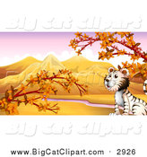 Big Cat Cartoon Vector Clipart of a White Tiger in an Autumn Valley by Graphics RF