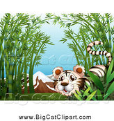 Big Cat Cartoon Vector Clipart of a White Tiger in Bamboo, with Mountains by Graphics RF