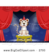 Big Cat Cartoon Vector Clipart of a White Tiger Wearing a Party Hat and Performing on Stage by Graphics RF