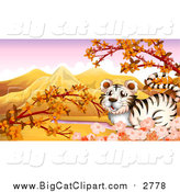Big Cat Cartoon Vector Clipart of a White Tiger with Blossoms and an Autumn Landscape by Graphics RF