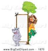 Big Cat Cartoon Vector Clipart of a Wild Animals Around a Sign by Graphics RF