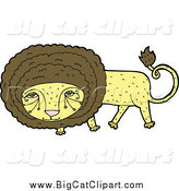 Big Cat Cartoon Vector Clipart of a Yellow and Brown Male Lion Looking Shy by Lineartestpilot