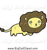 Big Cat Cartoon Vector Clipart of a Yellow Male Lion by Lineartestpilot