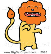 Big Cat Cartoon Vector Clipart of a Yellow Male Lion with an Orange Head by Lineartestpilot