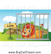 Big Cat Cartoon Vector Clipart of a Zoo Lion Resting in a Cage by Graphics RF