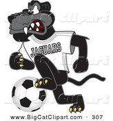 Big Cat Cartoon Vector Clipart of an Angry Black Jaguar Mascot Character Kicking a Soccer Ball by Toons4Biz
