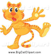 Big Cat Cartoon Vector Clipart of an Excited Standing Tiger by Graphics RF