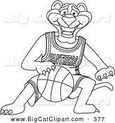 Big Cat Cartoon Vector Clipart of an Outline Design of a Panther Character Mascot Dribbling a Basketball by Toons4Biz
