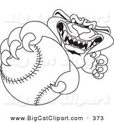 Big Cat Cartoon Vector Clipart of an Outline Design of a Panther Character Mascot Grabbing a Baseball by Toons4Biz