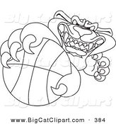 Big Cat Cartoon Vector Clipart of an Outline Design of a Panther Character Mascot Grabbing a Basketball by Toons4Biz