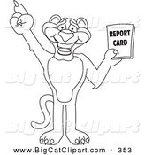 Big Cat Cartoon Vector Clipart of an Outline Design of a Panther Character Mascot Holding a Report Card by Toons4Biz