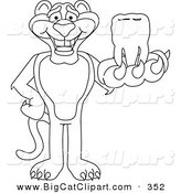 Big Cat Cartoon Vector Clipart of an Outline Design of a Panther Character Mascot Holding a Tooth by Toons4Biz