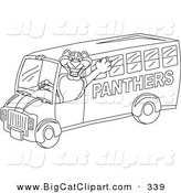 Big Cat Cartoon Vector Clipart of an Outline Design of a Panther Character Mascot School Bus Driver by Toons4Biz
