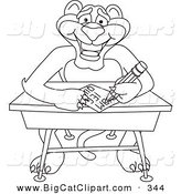 Big Cat Cartoon Vector Clipart of an Outline Design of a Panther Character Mascot Taking a Quiz by Toons4Biz
