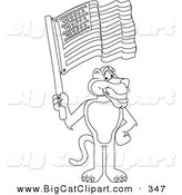 Big Cat Cartoon Vector Clipart of an Outline Design of a Panther Character Mascot Waving an American Flag by Toons4Biz