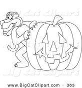 Big Cat Cartoon Vector Clipart of an Outline Design of a Panther Character Mascot with a Pumpkin by Toons4Biz