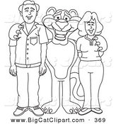 Big Cat Cartoon Vector Clipart of an Outline Design of a Panther Character Mascot with Adults by Toons4Biz