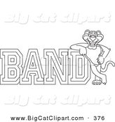 Big Cat Cartoon Vector Clipart of an Outline Design of a Panther Character Mascot with Band Text by Toons4Biz