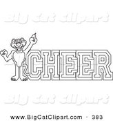 Big Cat Cartoon Vector Clipart of an Outline Design of a Panther Character Mascot with Cheer Text by Toons4Biz