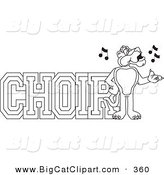 Big Cat Cartoon Vector Clipart of an Outline Design of a Panther Character Mascot with Choir Text by Toons4Biz