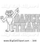 Big Cat Cartoon Vector Clipart of an Outline Design of a Panther Character Mascot with Dance Team Text by Toons4Biz