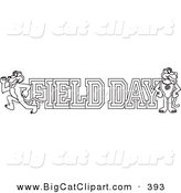 Big Cat Cartoon Vector Clipart of an Outline Design of a Panther Character Mascot with Field Day Text by Toons4Biz