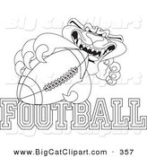 Big Cat Cartoon Vector Clipart of an Outline Design of a Panther Character Mascot with Football Text by Toons4Biz