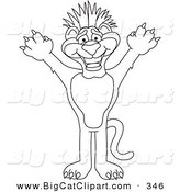 Big Cat Cartoon Vector Clipart of an Outline Design of a Panther Character Mascot with Funky Hair by Toons4Biz