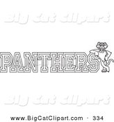 Big Cat Cartoon Vector Clipart of an Outline Design of a Panther Character Mascot with PANTHERS Text by Toons4Biz