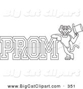 Big Cat Cartoon Vector Clipart of an Outline Design of a Panther Character Mascot with Prom Text by Toons4Biz