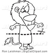 Big Cat Cartoon Vector Clipart of an Outlined Coupon Dotted Lion over a Lion by Toonaday