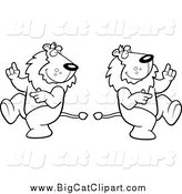 Big Cat Cartoon Vector Clipart of Black and White Dancing Lions by Cory Thoman