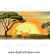 Big Cat Cartoon Vector Clipart of Cheetahs near an Acacia Tree at Sunset by Graphics RF