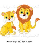 Big Cat Cartoon Vector Clipart of Cute Sitting Lions by Pushkin