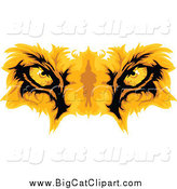 Big Cat Cartoon Vector Clipart of Gold Lion Eyes by Chromaco