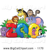 Big Cat Cartoon Vector Clipart of Happy Animals Around the Word Zoo by Visekart
