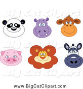 Big Cat Cartoon Vector Clipart of Happy Panda Hippo Monkey Pig Lion and Zebra Faces by Yayayoyo