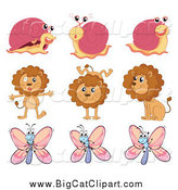 Big Cat Cartoon Vector Clipart of Happy Snails Lions and Butterflies by Graphics RF