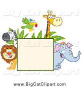 August 19th, 2014: Big Cat Cartoon Vector Clipart of Happy Zoo Animals Around a Sign by Hit Toon