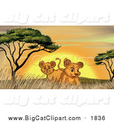 Big Cat Cartoon Vector Clipart of Lion Cubs by Trees and Grass at Sunset by Graphics RF