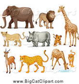 Big Cat Cartoon Vector Clipart of Lions, and African Zoo Animals by Graphics RF