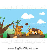 Big Cat Cartoon Vector Clipart of Lions on a Log by Graphics RF
