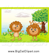 Big Cat Cartoon Vector Clipart of Lions Playing in a Garden by Graphics RF