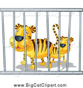 Big Cat Cartoon Vector Clipart of Zoo Tigers in a Cage by Graphics RF