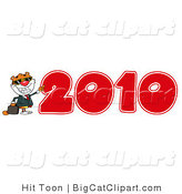 Big Cat Clipart of a 2010 Tiger by Hit Toon