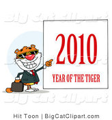 Big Cat Clipart of a 2010 Year of the Tiger Sign Next to a Smiling and Pointing Business Tiger by Hit Toon