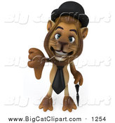 Big Cat Clipart of a 3d Lion Englishman Holding a Thumb down by Julos