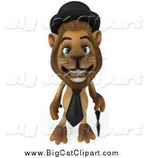 Big Cat Clipart of a 3d Lion Englishman with a Cane by Julos