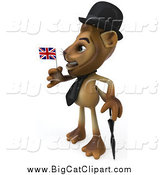 Big Cat Clipart of a 3d Lion Wearing a Hat and Holding a Union Jack Flag by Julos