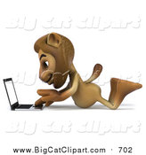 Big Cat Clipart of a 3d Male Lion Using a Laptop on the Floor by Julos